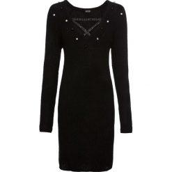 Sukienka dzianinowa z perełkami bonprix czarny. Czarne sukienki dzianinowe marki bonprix, w paski, z dekoltem w serek. Za 109,99 zł.