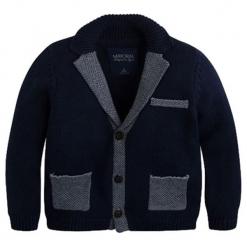 Kardigan w kolorze granatowym. Niebieskie swetry chłopięce marki Mayoral. W wyprzedaży za 109,95 zł.
