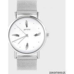 Zegarki damskie: Zegarek - Szare piórka - metalowy