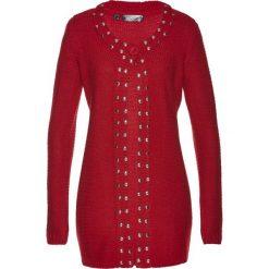 Długi sweter rozpinany bonprix ciemnoczerwono-srebrny. Zielone kardigany damskie marki bonprix, w kropki, z kopertowym dekoltem, kopertowe. Za 79,99 zł.