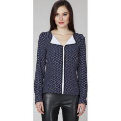 Bluzki asymetryczne: Wzorzysta Elegancka Bluzka z Kontrastową Lamówką
