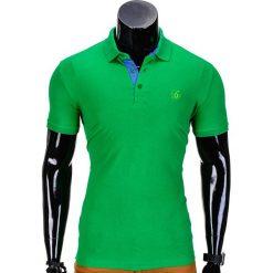 KOSZULKA MĘSKA POLO BEZ NADRUKU S837 - ZIELONA. Czarne koszulki polo marki Ombre Clothing, m, z bawełny, z kapturem. Za 39,00 zł.