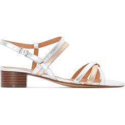 Rzymianki damskie: Skórzane dwukolorowe sandały na średnim obcasie