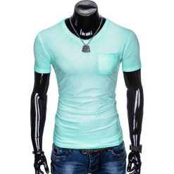 T-shirty męskie: T-SHIRT MĘSKI BEZ NADRUKU S674 - MIĘTOWY