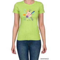 Koszulka damska. kwiaty i ptaki. Brązowe bluzki z odkrytymi ramionami marki Pakamera, w kwiaty. Za 79,00 zł.