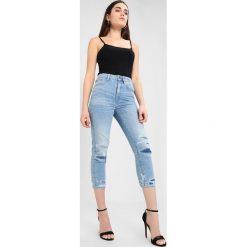 GStar 3301 ULTRA HIGH STRAIGHT 7/8 3DR Jeans Skinny Fit destroyed denim. Niebieskie jeansy damskie marki G-Star, z bawełny. W wyprzedaży za 449,40 zł.