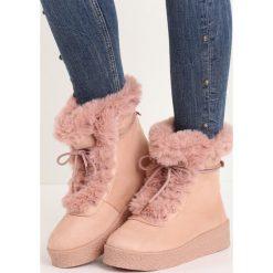 Różowe Śniegowce Little Devil. Czerwone buty zimowe damskie Born2be, z materiału. Za 69,99 zł.