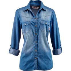 Bluzki damskie: Bluzka dżinsowa z napami, długi rękaw bonprix średni niebieski