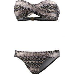 Biustonosz bikini w kolorze czarno-szaro-złotym. Czarne biustonosze z fiszbinami marki Najlepsze stroje na plażę, z materiału. W wyprzedaży za 95,95 zł.