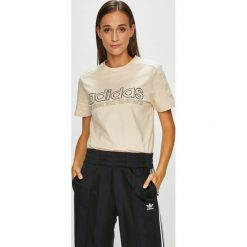 Adidas Originals - Top. Szare topy damskie adidas Originals, z aplikacjami, z bawełny, z okrągłym kołnierzem. Za 149,90 zł.