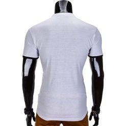 KOSZULKA MĘSKA POLO BEZ NADRUKU S848 - BIAŁA. Białe koszulki polo Ombre Clothing, m, z nadrukiem. Za 39,00 zł.