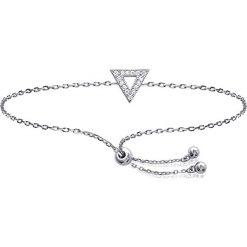 Bransoletki damskie: Srebrna bransoletka z elementem ozdobnym