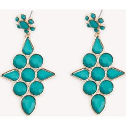 Kolczyki damskie: NA-KD Accessories Wyrażające siebie wiszące kolczyki wysadzane kamieniami – Green