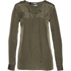 Bluzki asymetryczne: Bluzka ze sznurowaniem bonprix ciemnooliwkowy