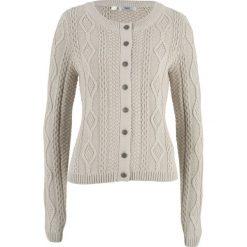 Sweter rozpinany w warkocze bonprix beżowo-szary. Brązowe kardigany damskie bonprix. Za 49,99 zł.