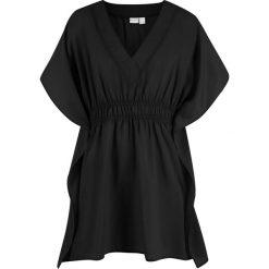 Tunika plażowa bonprix czarny. Czarne tuniki damskie marki bonprix, na plażę, z tkaniny, z dekoltem w serek. Za 54,99 zł.