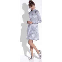 Szara Sukienka Żakardowa w Skandynawskie Wzory. Szare sukienki marki Molly.pl, na zimę, l, z żakardem, z golfem. Za 99,90 zł.
