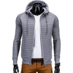 BLUZA MĘSKA ROZPINANA Z KAPTUREM B637 - SZARA. Szare bluzy męskie rozpinane marki Ombre Clothing, m, z bawełny, z kapturem. Za 49,00 zł.