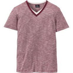 T-shirty męskie: T-shirt z dekoltem w serek Regular Fit bonprix czerwony klonowy melanż