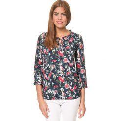 Bluzki asymetryczne: Koszulka w kolorze granatowym ze wzorem