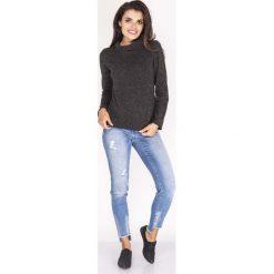 Bluzki damskie: Czarna Melanżowa Bluzka z Luźnym Golfem