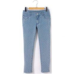 Dżinsy slim w groszki 3-12 lat. Niebieskie jeansy dziewczęce La Redoute Collections, w grochy, z bawełny, z standardowym stanem. Za 100,76 zł.