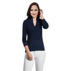 Sweter w kolorze granatowym. Niebieskie swetry klasyczne damskie marki Vincenzo Boretti, xs, z dzianiny, ze stójką. W wyprzedaży za 130,95 zł.