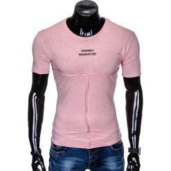 T-SHIRT MĘSKI Z NADRUKIEM S958 - PUDROWY RÓŻ. Czerwone t-shirty męskie z nadrukiem marki Ombre Clothing, m. Za 29,00 zł.