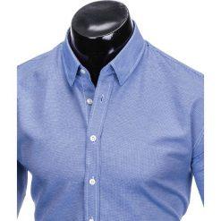 KOSZULA MĘSKA Z DŁUGIM RĘKAWEM K408 - BIAŁA/GRANATOWA. Brązowe koszule męskie marki Ombre Clothing, m, z aplikacjami, z kontrastowym kołnierzykiem, z długim rękawem. Za 59,00 zł.