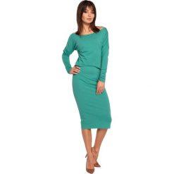 GEMMA Sukienka ołówkowa z nakładaną bluzą - zielona. Zielone sukienki na komunię marki BE, na co dzień, l, z bawełny, ołówkowe. Za 136,99 zł.