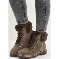 Khaki Traperki Elapsed Time. Brązowe buty zimowe damskie marki Born2be, z okrągłym noskiem, na płaskiej podeszwie. Za 99,99 zł.