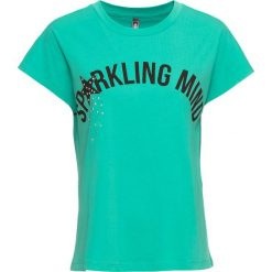 T-shirt bonprix zielony oceaniczny z nadrukiem. Niebieskie t-shirty damskie marki DOMYOS, z elastanu, street, z okrągłym kołnierzem. Za 32,99 zł.