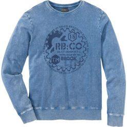 """Bluza dresowa Slim Fit bonprix niebieski """"used"""". Niebieskie bejsbolówki męskie bonprix, l, z nadrukiem, z dresówki. Za 99,99 zł."""