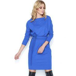 Dresowa Chabrowa Sukienka Bombka z Kimonowym Rękawem. Niebieskie sukienki dresowe Molly.pl, na spotkanie biznesowe, l, w paski, z dekoltem w łódkę, bombki. Za 129,90 zł.