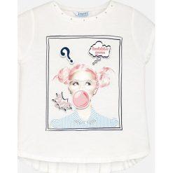 Mayoral - Top dziecięcy 128-167 cm. Różowe bluzki dziewczęce marki Mayoral, z bawełny, z okrągłym kołnierzem. Za 84,90 zł.
