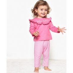 Komplet, bluza i spodnie 0 m-cy - 3 latka, Oeko Tex. Czerwone bluzy dziewczęce rozpinane marki La Redoute Collections, z napisami, z bawełny, z długim rękawem, długie. Za 88,16 zł.