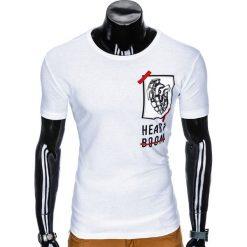 T-shirty męskie: T-SHIRT MĘSKI Z NADRUKIEM S984 - BIAŁY