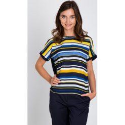 Bluzki damskie: Niebieska bluzka z żółtymi paskami QUIOSQUE