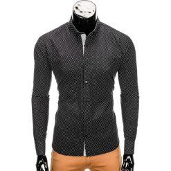 KOSZULA MĘSKA ELEGANCKA Z DŁUGIM RĘKAWEM K326 - CZARNA. Czarne koszule męskie na spinki Ombre Clothing, m, z bawełny, z kontrastowym kołnierzykiem, z długim rękawem. Za 59,00 zł.