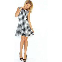 Sukienki balowe: Biało Czarna Sukienka Trapezowa Mini bez Rękawów