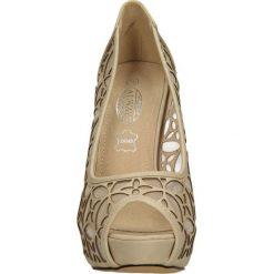 CZÓŁENKA CASU 7038. Brązowe buty ślubne damskie Casu, na koturnie. Za 54,99 zł.