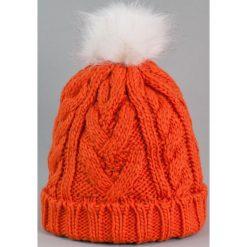 Czapka damska i biały króliczy pompon pomarańczowa (cz2505). Białe czapki zimowe damskie marki Art of Polo. Za 36,52 zł.