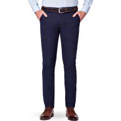Spodnie Granatowe Chino Paul. Czarne chinosy męskie LANCERTO, w kolorowe wzory, z bawełny. Za 299,90 zł.