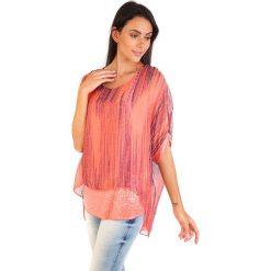Bluzki asymetryczne: Koszulka w kolorze koralowym