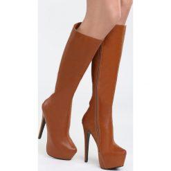 Camelowe Kozaki Hornbeam. Brązowe buty zimowe damskie marki Born2be, z materiału, na wysokim obcasie, na platformie. Za 79,99 zł.