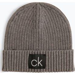 Calvin Klein - Czapka męska z dodatkiem kaszmiru, szary. Szare czapki męskie marki Calvin Klein, w prążki, z bawełny, klasyczne. Za 139,95 zł.