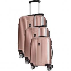 Zestaw walizek w kolorze jasnoróżowym - 3 szt. Czerwone walizki Bagstone & Travel One, z materiału. W wyprzedaży za 559,95 zł.