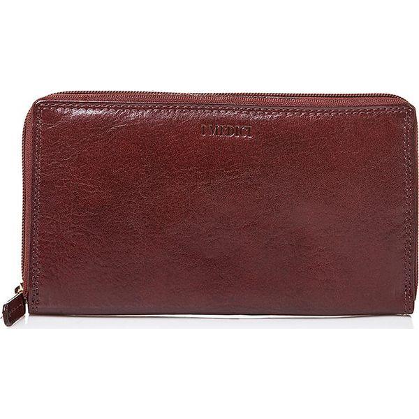 41355aaaf3b16 Skórzany portfel w kolorze brązowym - 19 x 11 x 2