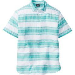 Koszule męskie na spinki: Koszula w paski Regular Fit bonprix biało-zielony w paski