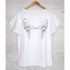 KOBIETA ANIOŁ koszulka bawełniana biała. Szare bluzki damskie marki Sinsay, l, z dekoltem na plecach. Za 79,00 zł.